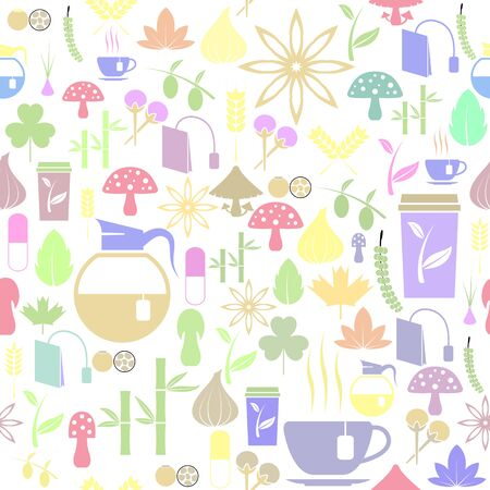 herb seamless pattern background icon.