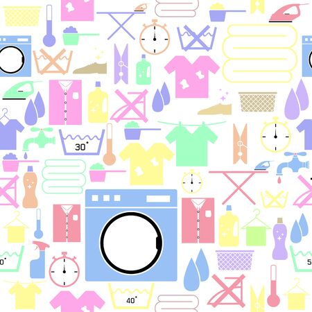 Laundry seamless pattern background icon. Ilustração