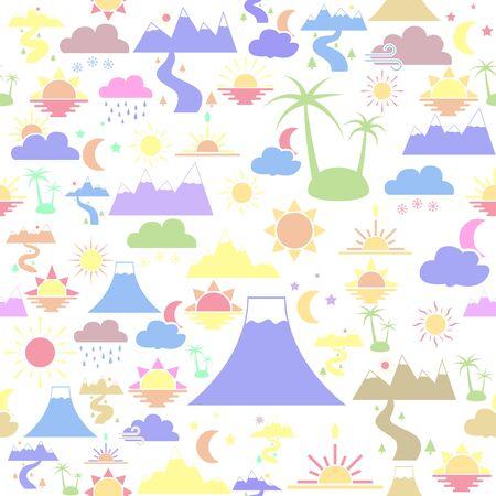 landscape seamless pattern background icon.