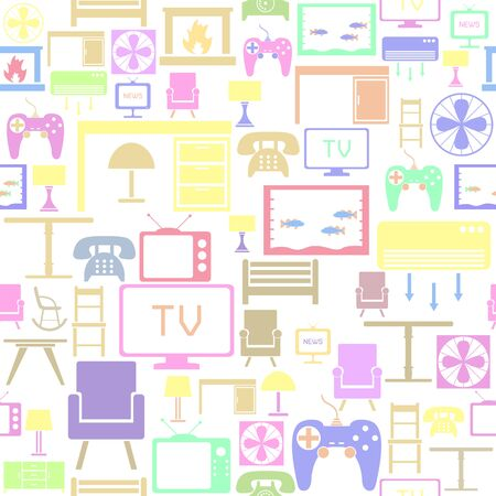 living room seamless pattern background icon. Banco de Imagens - 134665831