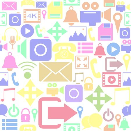 Media and Communication seamless pattern background icon. Banco de Imagens - 134665850