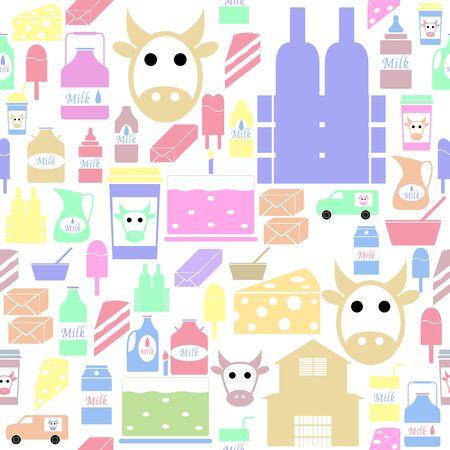 milk seamless pattern background icon. Banco de Imagens - 134844537