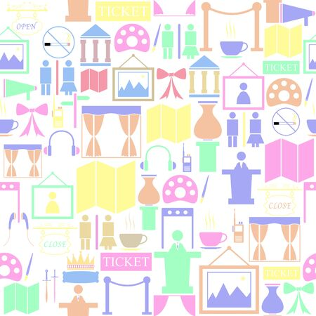 museum seamless pattern background icon.