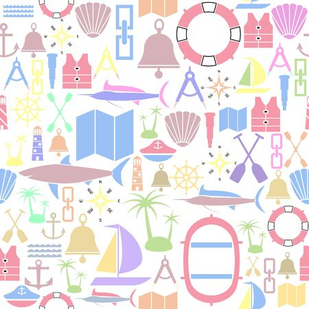 nautical seamless pattern background icon. Ilustração