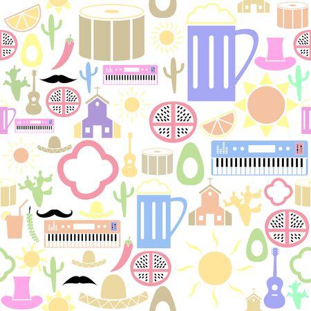 mexico seamless pattern background icon. Ilustração