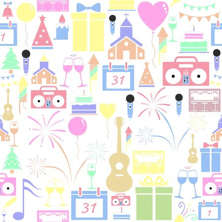 New year seamless pattern background icon.