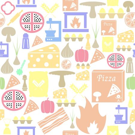 pizza seamless pattern background icon.