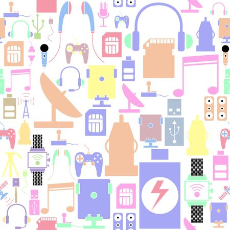 phone accessories seamless pattern background icon. Ilustração