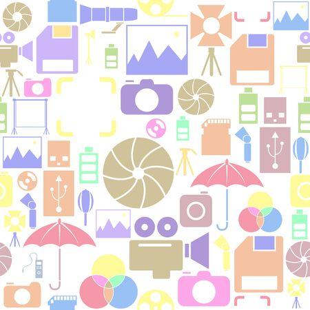 photo equipment seamless pattern background icon. Ilustração
