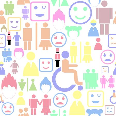 person seamless pattern background icon.