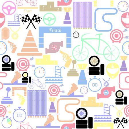 race seamless pattern background icon. Ilustração