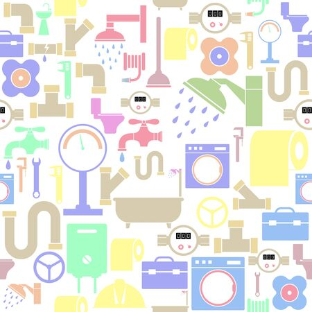 plumbing seamless pattern background icon.