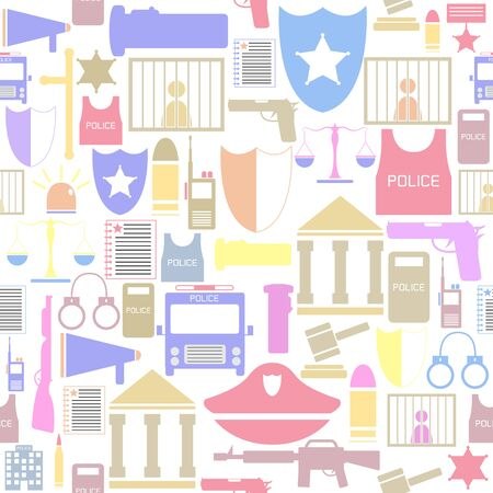 police seamless pattern background icon.