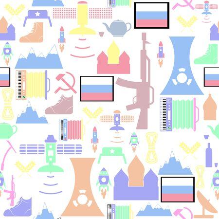 russian seamless pattern background icon.