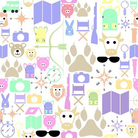 safari seamless pattern background icon. Ilustração