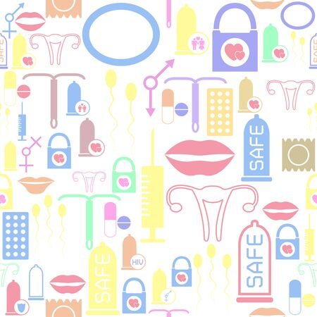 safe sex seamless pattern background icon.