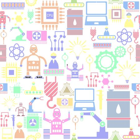 robot seamless pattern background icon.