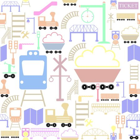 railway seamless pattern background icon.