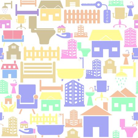 real estate seamless pattern background icon.