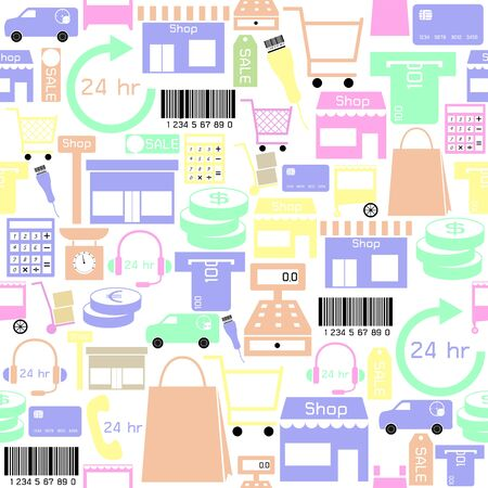 retail seamless pattern background icon. Иллюстрация