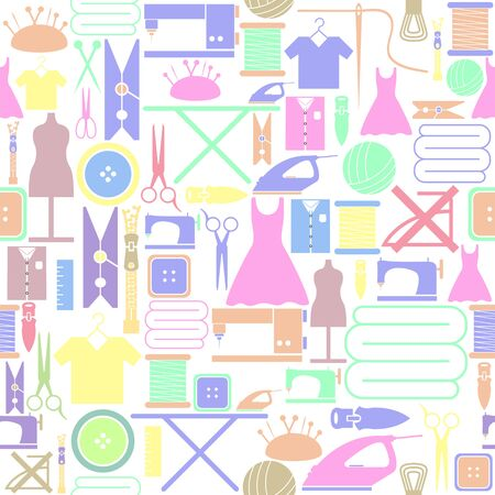 sewing seamless pattern background icon. Иллюстрация