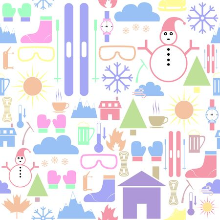 skiing seamless pattern background icon.