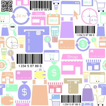shopping seamless pattern background icon.