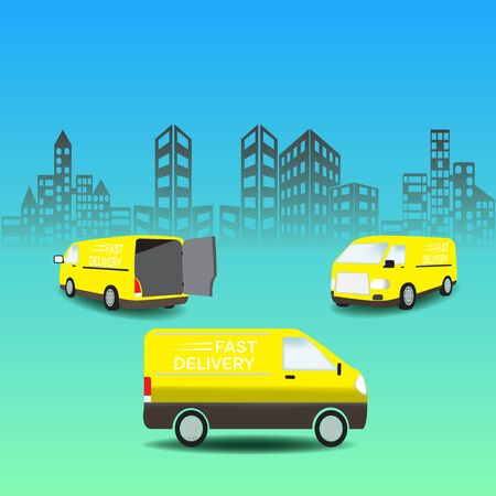 delivery van on city background. Product goods shipping transport. Fast service truck Ilustrace