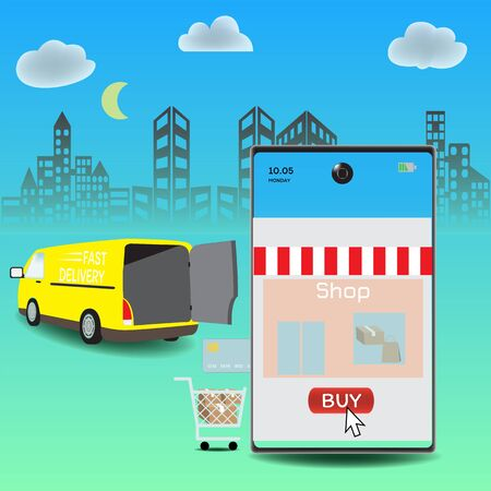 Online delivery service concept, Logistics and Delivery, on mobile Vector.