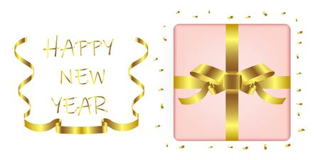 Gift box with gold ribbon for Happy new year celebrate.