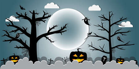 Halloween Night Concept Vector.paper art style.