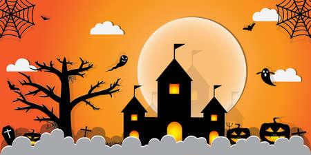 Halloween Night Concept Vector.paper art style. Banco de Imagens