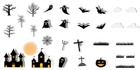 Collection of halloween silhouettes icon.paper art style. Ilustração