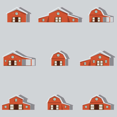 farm building icons set.paper art style.