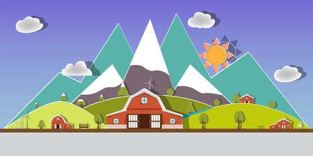 landscape nature design.paper art style.