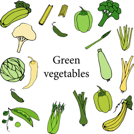 green vegetables on white background Illustration