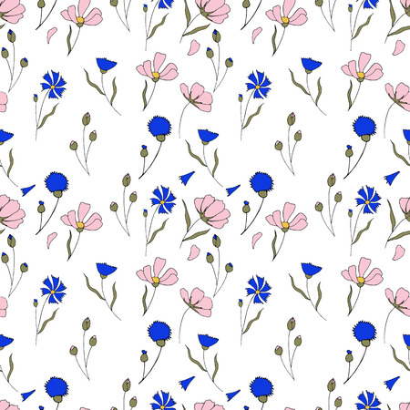 Vector seamless pattern with handered cosmos and cornflowers twigs.