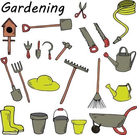 Garden tools on white background Ilustração