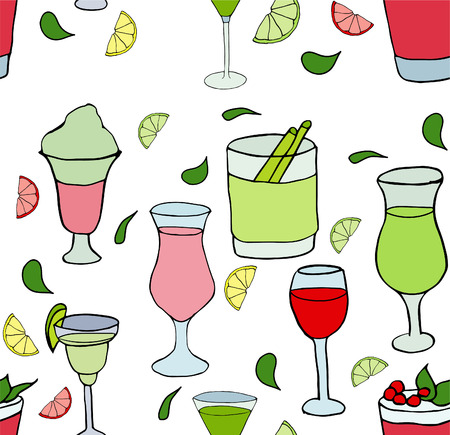 different cocktails on purple background
