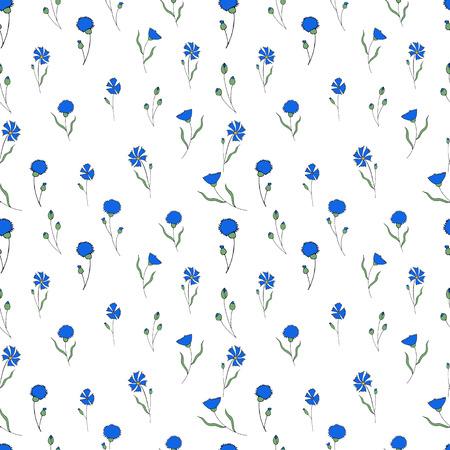 Seamless pattern with blue cornflowers on white Illusztráció
