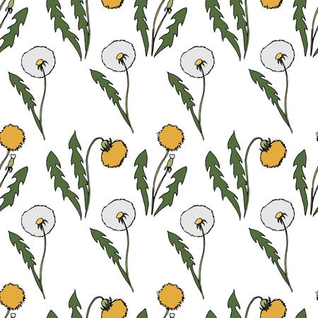 Dandelion seamless pattern. hand drawn illustration. Bright cartoon illustration for  card design, fabric and wallpaper.