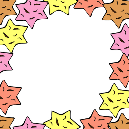 Hand drawn stars frame.  Great for wedding invitation, label template, anniversary card.