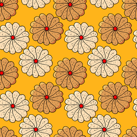 cookies seamless pattern. hand drawn illustration. Bright cartoon illustration for children's greeting card design, menu, fabric and wallpaper.  イラスト・ベクター素材
