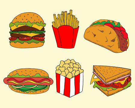 Hand drawn illustration of fastfood in cartoon style. Colorful burgers and sandwiches vector illustration for menu design
