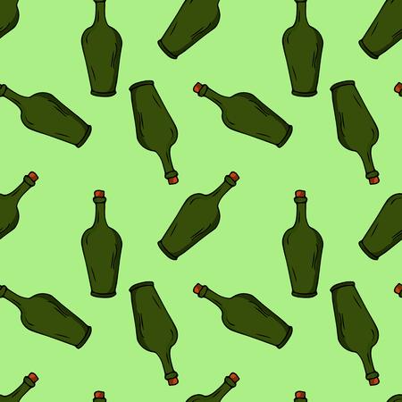 Bottles seamless pattern. hand drawn illustration. Bright cartoon illustration for card design, fabric and wallpaper.