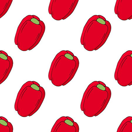 red bell peppers seamless pattern. hand draw illustration isolated on white background