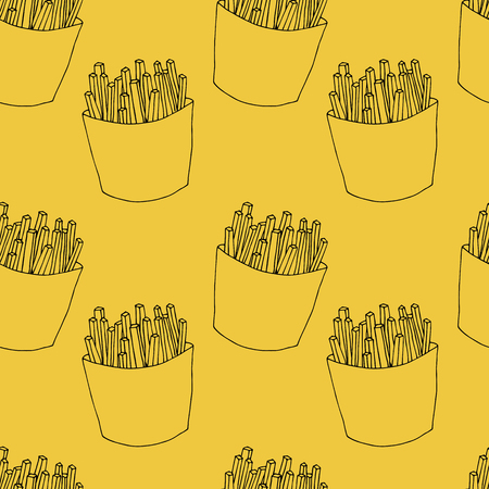Seamless pattern of french fries in cartoon style. Hand drawn illustration for menu design, fabric and wallpaper