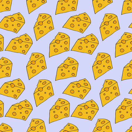 Cheese pattern. hand drawn illustration. Bright cartoon illustration for menu design, fabric and wallpaper. Illustration