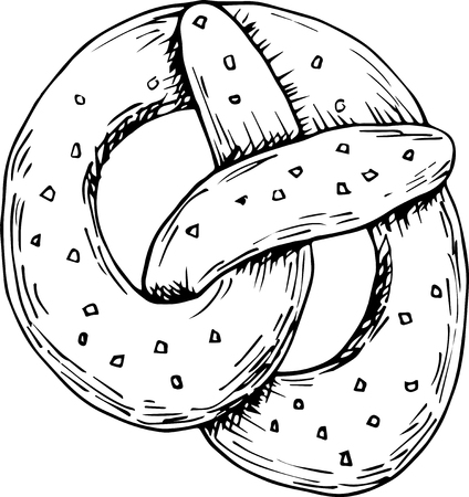 Baked soft german pretzel. Perfect for seasonal, octoberfest design Illustration