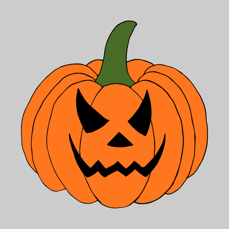 Pumpkin with scary face. Perfect for package design, card.